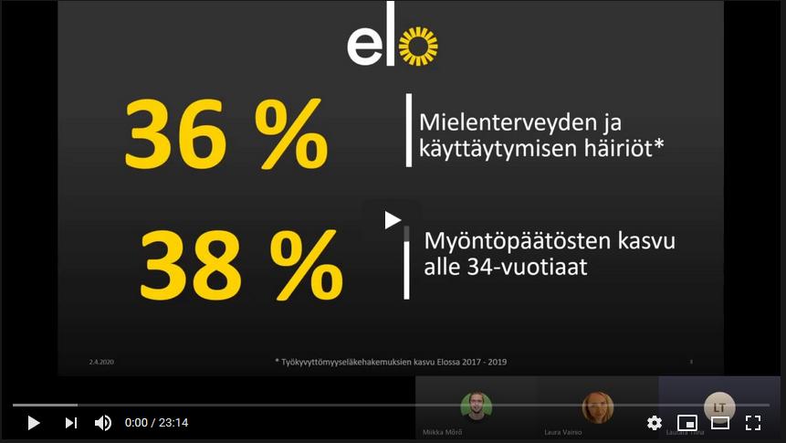 Kuvakaappaus Työeläkeyhtiö Elon Tiina Lautalan esityksestä Nuoren mielen ja työkyvyn haasteet työelämässä